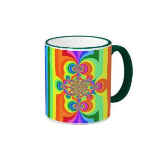 Rayas del arco iris, inversión polar, 11oz verde. taza a dos colores