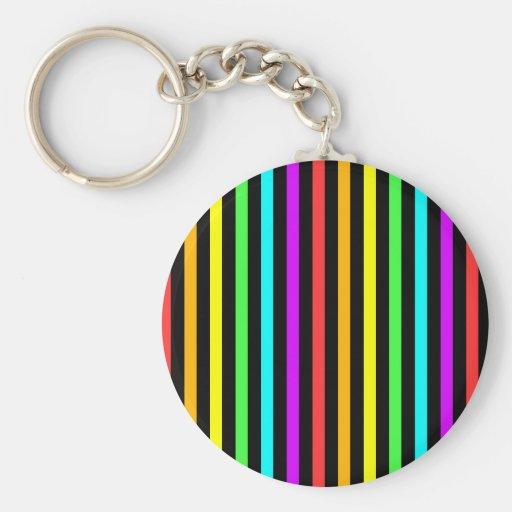 Rayas del arco iris llavero redondo tipo pin