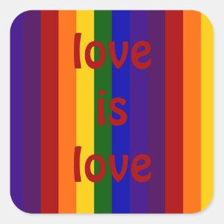 Rayas del arco iris pegatina cuadradas personalizadas