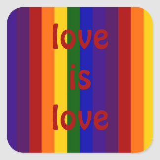 Rayas del arco iris pegatina cuadrada