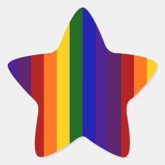 Rayas del arco iris pegatina en forma de estrella