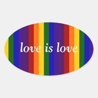 Rayas del arco iris pegatina ovalada