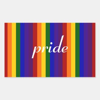 Rayas del arco iris pegatina rectangular