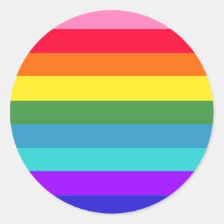 Rayas del arco iris pegatina redonda