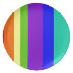 Rayas del arco iris platos de comidas
