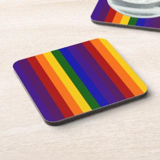 Rayas del arco iris posavasos de bebida