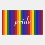 Rayas del arco iris rectangular pegatina