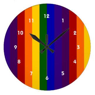 Rayas del arco iris reloj redondo grande
