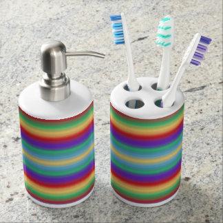 Rayas del arco iris set de baño