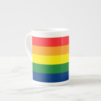 Rayas del arco iris taza de porcelana