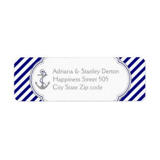 Rayas del azul marino, blancas y boda náutico del etiquetas de remite