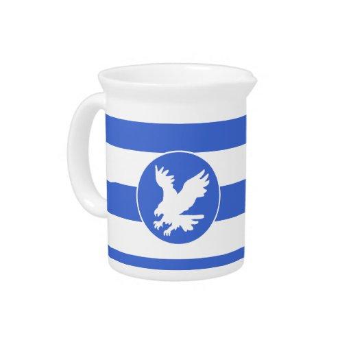Rayas del azul real y del blanco; Eagle Jarra De Beber