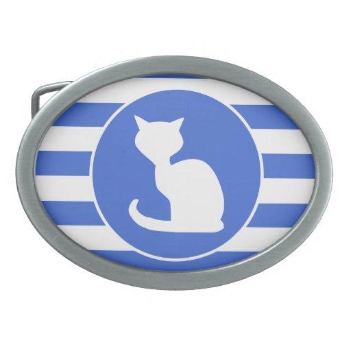 Rayas del azul real y del blanco; Gato Hebilla Cinturón Oval