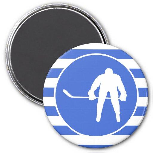 Rayas del azul real y del blanco; Hockey Imanes