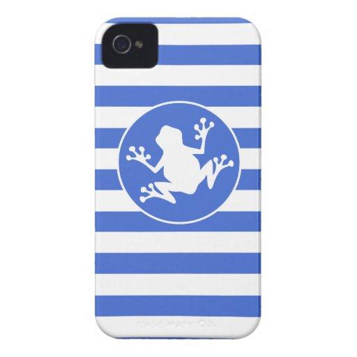Rayas del azul real y del blanco; Rana iPhone 4 Carcasas