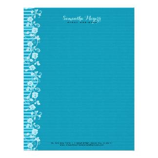 Rayas del azul y de la turquesa y cordón floral membretes personalizados