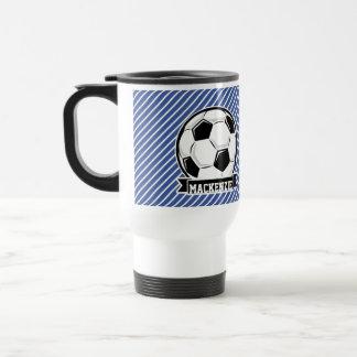 Rayas del balón de fútbol, azules y blancas, taza