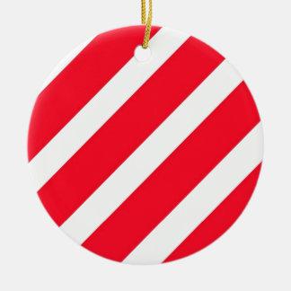 Rayas del bastón de caramelo adorno navideño redondo de cerámica