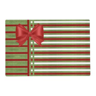 Rayas del bastón de caramelo con verde y el arco tapete individual