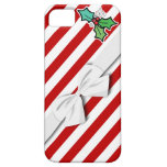 rayas del bastón de caramelo del acebo del navidad iPhone 5 carcasa