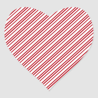 Rayas del bastón de caramelo pegatina en forma de corazón