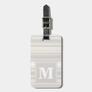 Rayas del beige del monograma etiquetas para maletas