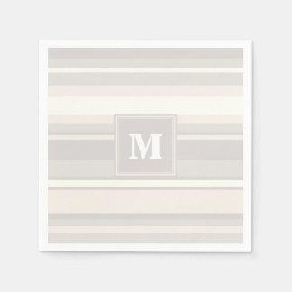 Rayas del beige del monograma servilletas desechables