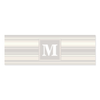 Rayas del beige del monograma tarjetas de visita mini