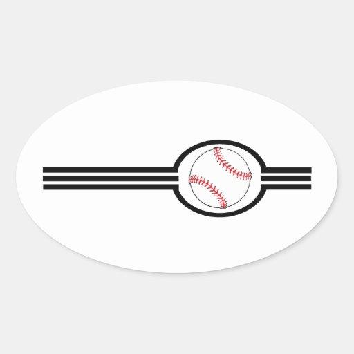 Rayas del béisbol pegatina ovalada