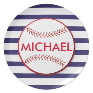 Rayas del béisbol - placa personalizada de la plato de comida