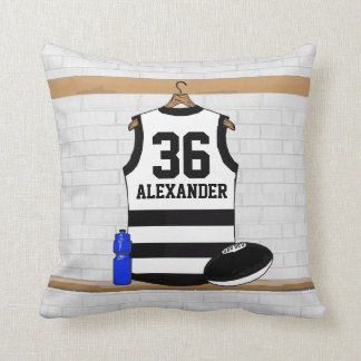 Rayas del blanco del negro del jersey del fútbol cojín decorativo