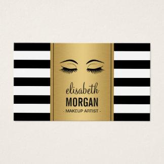 Rayas del blanco del negro del oro del logotipo tarjetas de visita