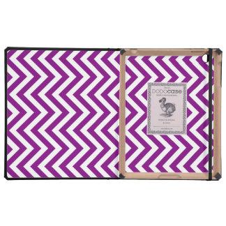 Rayas del blanco y de la púrpura o de los zigzags iPad protector