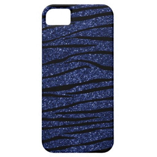 Rayas del brillo de la cebra de los azules marinos iPhone 5 carcasas