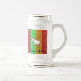Rayas del brillo del arco iris del caballo taza de café