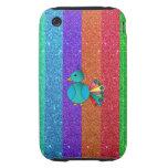 Rayas del brillo del arco iris del pavo real del a tough iPhone 3 cárcasas