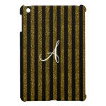 Rayas del brillo del oro del monograma iPad mini funda