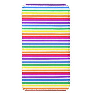 Rayas del caramelo del arco iris funda acolchada para móvil