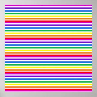 Rayas del caramelo del arco iris póster