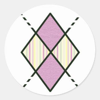 Rayas del caramelo del rosa del modelo de Pink-05 Pegatina Redonda
