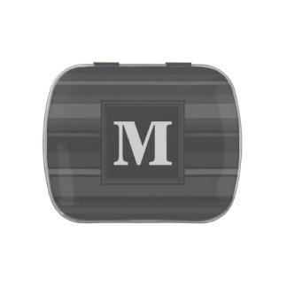 Rayas del carbón de leña del monograma latas de caramelos