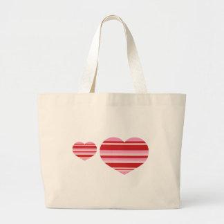 Rayas del corazón bolsas lienzo