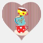 Rayas del descanso para tomar café pegatina de corazon personalizadas