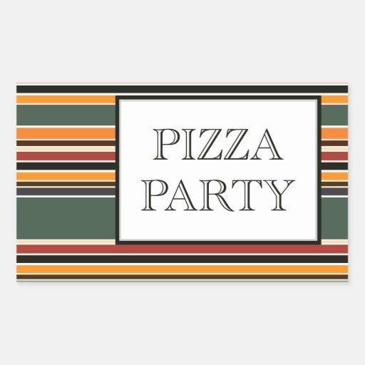 rayas del fiesta de la pizza pegatina rectangular