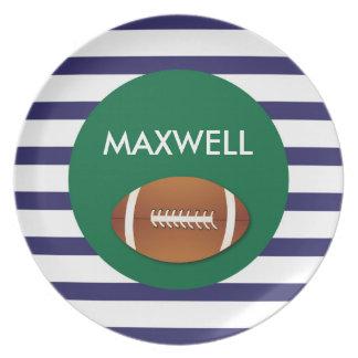 Rayas del fútbol - placa personalizada de la plato para fiesta
