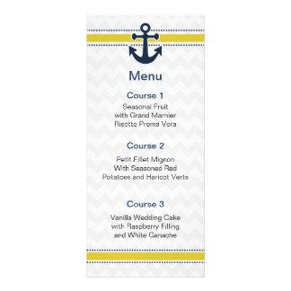rayas del galón, ancla, tarjetas náuticas del menú diseño de tarjeta publicitaria