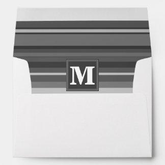 Rayas del gris del monograma sobres