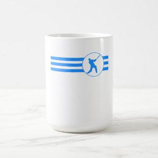 Rayas del jugador del grillo (azules) taza básica blanca