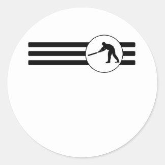 Rayas del jugador del grillo pegatina redonda