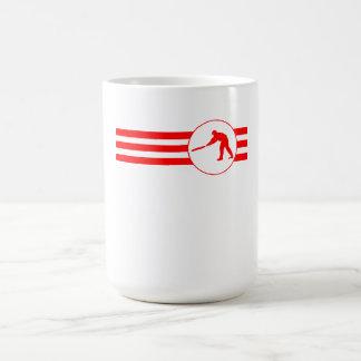 Rayas del jugador del grillo (rojas) taza básica blanca